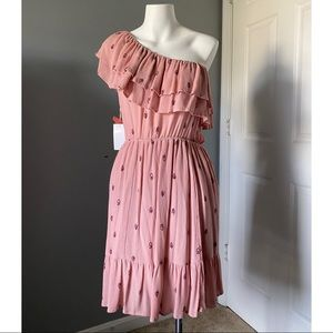 NWT MOSSIMO Pink One Shoulder Floral Dress